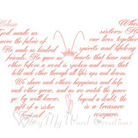 Personalized Sister Butterfly Art, Sister Butterfly Poem Word Art, Unique Handmade Word Art Typography,  PRINTABLE DIGITAL FILE