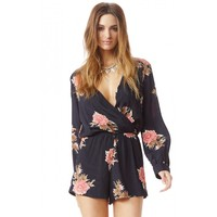 Blue Life Boho Romper in Big Red Floral