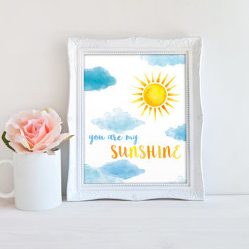 You Are My Sunshine Nursery Sign, Sunny Sky Printable Digital Wall Art Template, Instant Download, 8x10