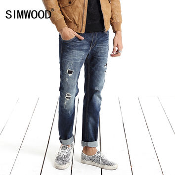 Jeans Men New Clothing Fashion Solid Slim Fit  Plus Size Mid Straight Hole Denim Pants