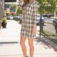 Plaid Behavior Dress, Black-Red