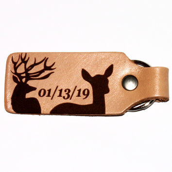 Buck Doe Leather Keychain with Custom Date