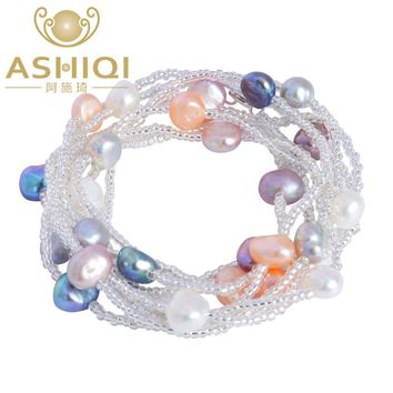 ASHIQI 120cm long Natural colorful baroque pearl bracelet ,Freshwater pearl  jewelry for women wedding Crystal beads bracelet