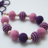 Nursing necklace / Teething necklace Purple Pink by SvetlanaN