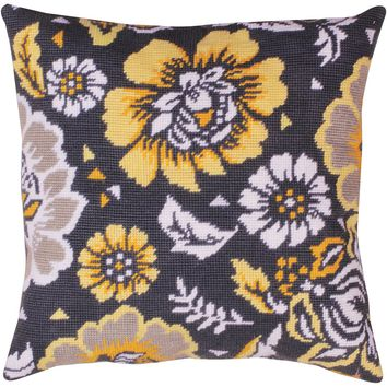 """Yellow Floral Needlepoint Kit 12""""X12"""" Stitched In Yarn"""