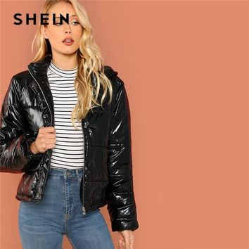 SHEIN Black Minimalist Casual Hooded Solid Zip Up Puffer Coats 2018 Autumn Winter Going Out Thermal Padded Coat Outerwear
