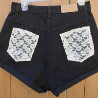 Black High Waisted Laced Pocket Shorts