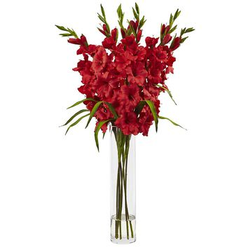 Silk Flowers -Large Red Gladiola With Cylinder Vase Artificial Plant