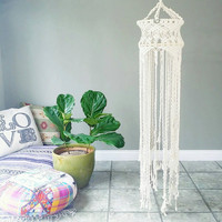 Macrame Chandelier- Macrame Hanging Mobile~ Bohemian Furniture~ Boho Wall Decor~ Wedding Decor~ White Wall Accent- Bohemian Gypsy Decor
