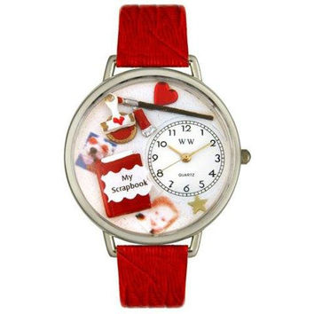 Whimsical Unisex Scrapbook Red Leather Watch
