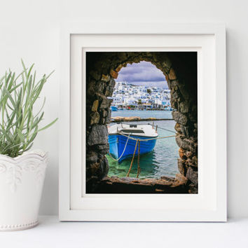 Digital download, instant printable art, Greece travel photography, tunnel, cave, fishing boat, Greek architecture, sea, wall art home decor