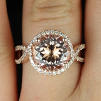 Kendra14kt Rose Gold Round Morganite Halo Twist by RosadosBox