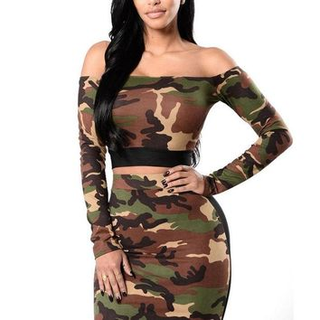 DCCKLG2 Camouflage Crop Top and Pencil Skirt Set