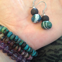 Aromatherapy Essential Oil Diffusing Earrings with Agate and Lava Stone