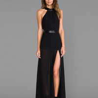 JARLO Juliet Maxi Dress with Slit in Black