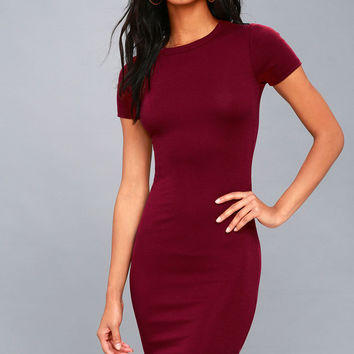 Like Minded Burgundy Bodycon Midi Dress