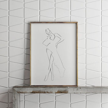 Large Wall Art, Fashion Art Print, Scandinavian Print, Haute Couture, Fine Art Illustration, Model Sketch, Ink Illustration