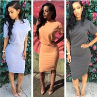 Short Sleeve Midi Bodycon Dress