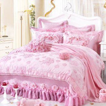 DIAIDI,Luxury Bedding Set,Romantic Wedding Bedding,Pink Lace Ruffle Comforter Set,10Pcs,King Size Bed Set,111 Roses