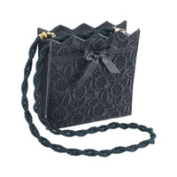 Emanuel Ungaro Black Lace Evening Bag with Gold Lame Lining
