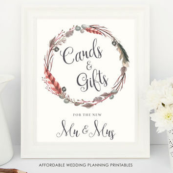 Cards and gifts wedding sign, boho wedding printable, Gift table sign, Rustic wedding printable, feather wedding decor, rustic wedding signs