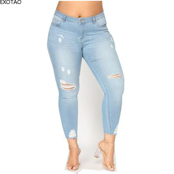 EXOTAO Women's Jeans High Waist Thin Destroyed Skinny Jeans