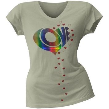 PEAPGQ9 2 Love - Vanessa Hudgens Raining Love Juniors V-Neck T-Shirt