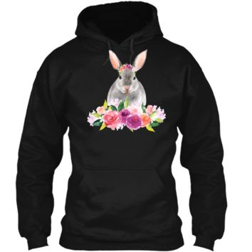 Easter Bunny T-Shirt with Watercolor Flowers Womens Girls Pullover Hoodie 8 oz