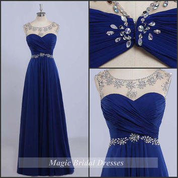 Charming A-line Beading Prom Dresses Scoop Neckline Cap Sleeves Royal Blue Chiffon Prom Gown Floor-length Long Women Dresses Butterfly Back