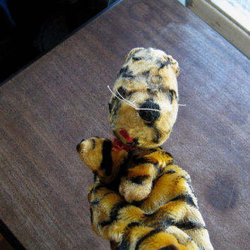 Adorable 1960s Vintage Tigger Hand Puppet  by Gund~Pre-Loved, Fairly Beaten Up; for Memories/Passing-On/Decor/Theatre