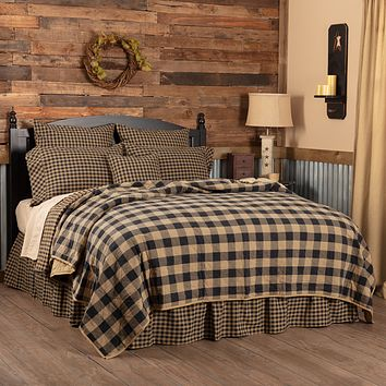 Black Check California King Quilt Coverlet