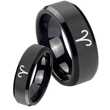 His and Hers Aries Zodiac Beveled Edges Edges Black Tungsten Men's Band Ring Set
