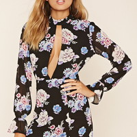 Floral Print High-Neck Dress