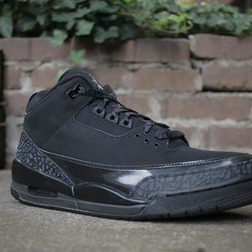 "[Free Shipping]Air Jordan 3 ""Black Cat"" 136064-011 Basketball Sneaker"