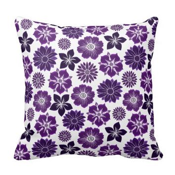 Pink Purple Floral Flower Pattern Pillow