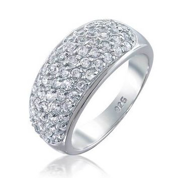 Dome Pave AAA CZ Five Row Wedding Band Ring 925 Sterling Silver
