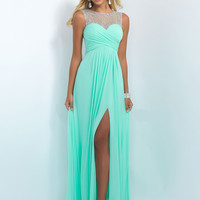 Illusion Beaded Neckline Blush Prom Dress 11096