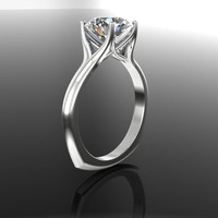 Forever Brilliant Moissanite Engagement Ring Modern Euro 2.5 CT
