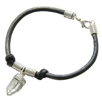 Brazilian Lucky Charm Crystal Point Rough Rock Quartz Gemstone Genuine Leather Bracelet