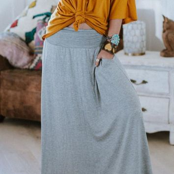 Sundown Pocket Maxi Skirt - Heather Gray