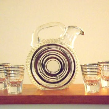 Rare Paden City #215 Glades Glass Bar Decanter with Gold Circles and Shot Glasses Set, Vintage Liquor Bottle Barware