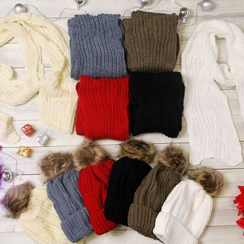 Cyber Deal! Pom Beanie and Scarf Set - Multiple Color options