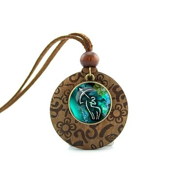 Wood Necklaces Sagittarius Pendant