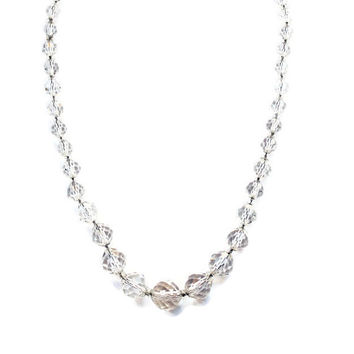 Vintage Faceted Graduated Clear Crystal Bead Necklace