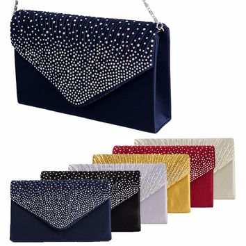 THINKTHENDO Women Sparkling Rhinestone Satin Frosted Evening Bag Handbag Clutch Purse