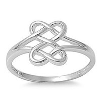 Hearts Infinity Fusion Ring Sterling Silver 925 Size 7