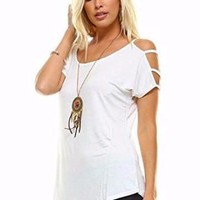 Casual Hollow Cut Out 3-Strap Cold Shoulder Short Sleeve Top