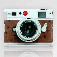 Classic retro White Leica  M9 with Brown Leather vintage camera apple iPad 2, 3 and iPad mini Case