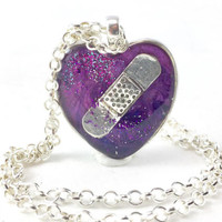 Purple Heart Necklace, Mended Heart, Alzheimer's Disease, Sympathy Gift, Teenage Depression, Thinking of You Gift, Domestic Violence, Lupus