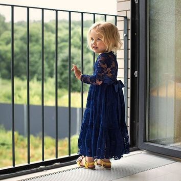 Girl Sweet Flower For Age 2-12 Baby Kids Princess DarkBlue Wedding Party Full-length Prom Dress Big Bow Long Sleeved Lace Dress